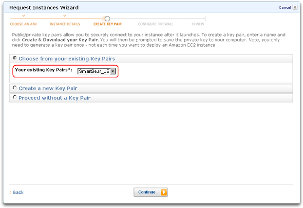 Amazon Web Services EC2 key pair