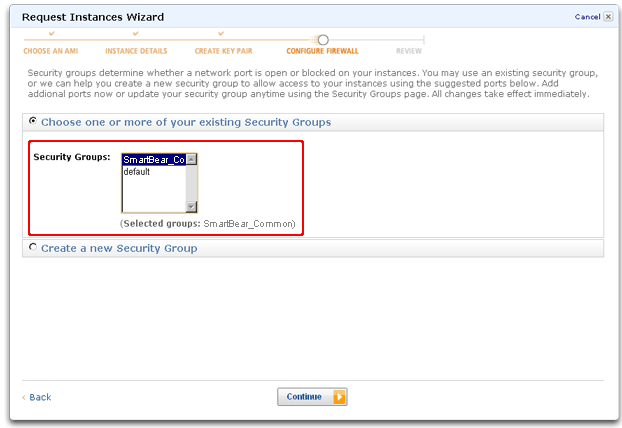 Selecting Amazon Web Services EC2 security groups