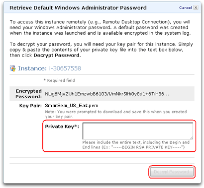 Decrypting the Administrator password for Cloud Testing