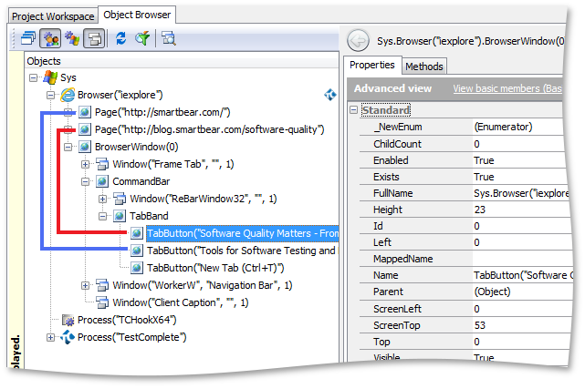 Page and TabButton objects in Internet Explorer