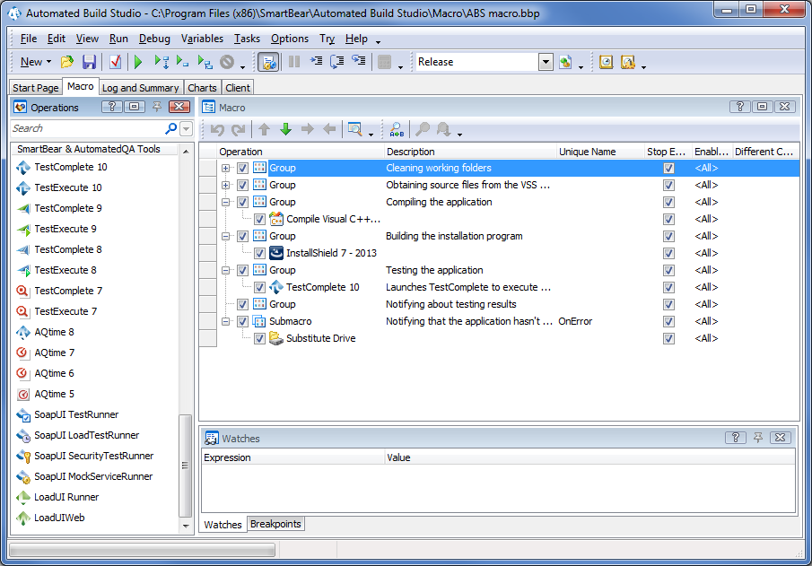TestComplete Operation Within Automated Build Studio Macro