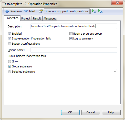 Properties Page in TestComplete Operation Properties Dialog