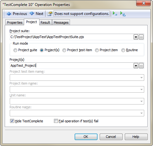 Project Page in TestComplete Operation Properties Dialog