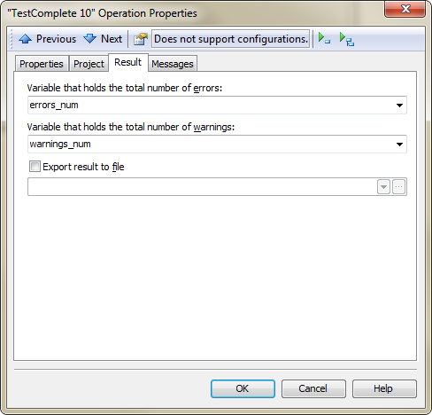 Result Page in TestComplete Operation Properties Dialog