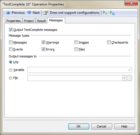 Messages Page in TestComplete Operation Properties Dialog