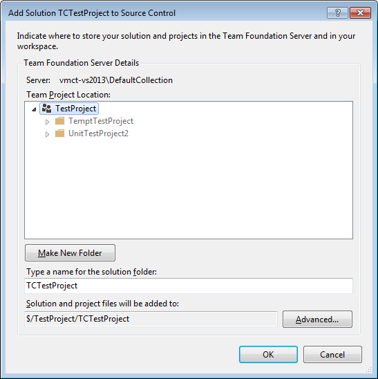 Add the TestComplete automated test solution to the source control in Visual Studio