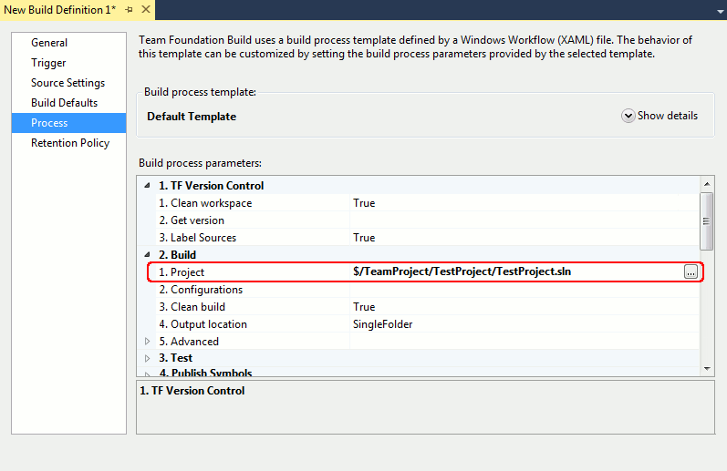 Process page in the Build Definition Window