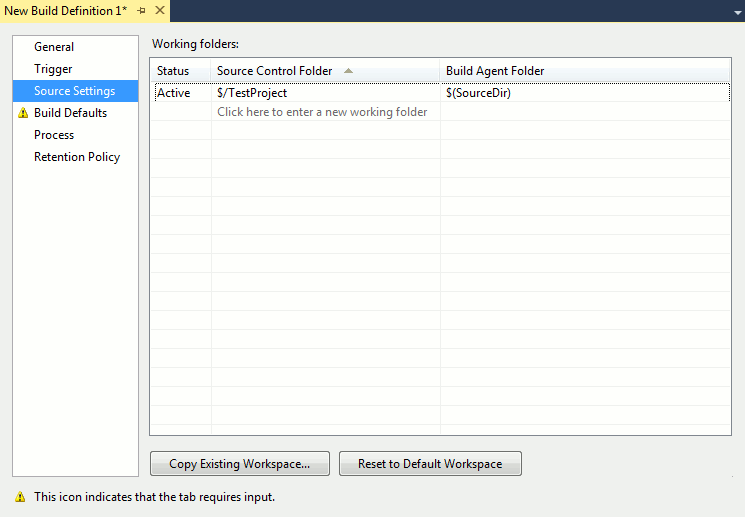 Workspace page in the Build Definition dialog