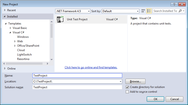 New project dialog in Visual Studio