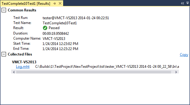 Test Results panel in Visual Studio 2013