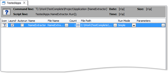 Adding NameExtractor.exe as the tested application
