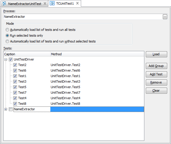 Loading unit tests to TestComplete
