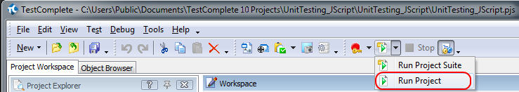 Running the TestComplete project