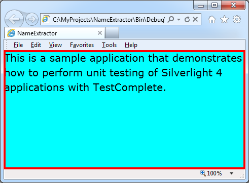 Selecting the web object that corresponds to the Silverlight application