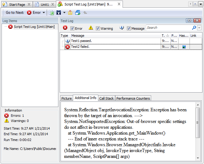 Error message in the test log
