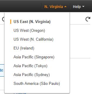 Regions where Amazon data centers are located
