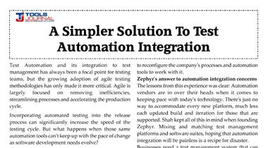 Automation Integration